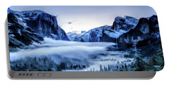 Portable Battery Charger featuring the painting Yosemite National Park Tunnel View Snowy Morning by Christopher Arndt