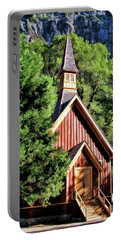 Portable Battery Charger featuring the painting Yosemite National Park Valley Chapel by Christopher Arndt