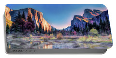 Portable Battery Charger featuring the painting Yosemite National Park Valley by Christopher Arndt