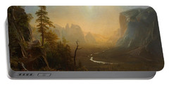 Yosemite Valley Glacier Point Trail Portable Battery Charger by Albert Bierstadt