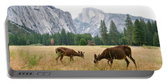 Yosemite's Half Dome And Two Deer Portable Battery Charger