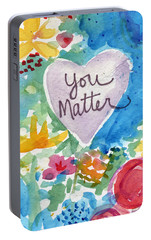 Portable Battery Charger featuring the mixed media You Matter Heart And Flowers- Art By Linda Woods by Linda Woods