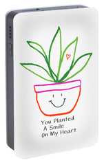 Portable Battery Charger featuring the mixed media You Planted A Smile- Art By Linda Woods by Linda Woods