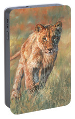 Portable Battery Charger featuring the painting Youn Lion by David Stribbling