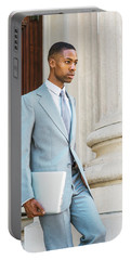 Young African American Businessman Working In New York Portable Battery Charger