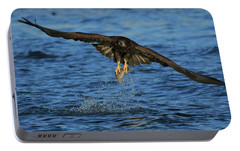 Portable Battery Charger featuring the photograph Young Bald Eagle Catching Fish by Coby Cooper