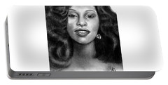 Young Chaka Khan - Charcoal Art Drawing Portable Battery Charger