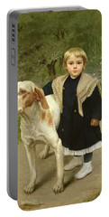 Young Child And A Big Dog Portable Battery Charger by Luigi Toro