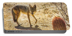 Young Coyote And Cactus Portable Battery Charger