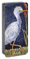 Young Egret Takes A Walk Portable Battery Charger