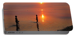 Young Fishermen At Sunset Portable Battery Charger