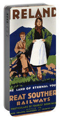 Young Irish Girl And Boy On A Meadow - Countryside - Vintage Travel Poster Portable Battery Charger