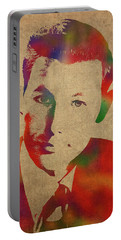 Young Johnny Carson Watercolor Portrait Portable Battery Charger