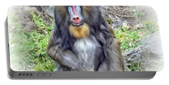Portable Battery Charger featuring the photograph Young Mandrill Fade To White Version by Jim Fitzpatrick