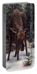 Young Moose And Pussy Willows Springtime In Alaska Wildlife Painting Portable Battery Charger by Karen Whitworth