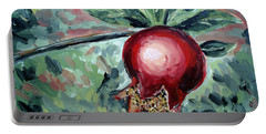 Portable Battery Charger featuring the painting Young Pomegranate by Maria Langgle