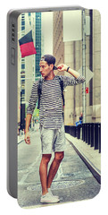 Young Russian Man Traveling In New York Portable Battery Charger
