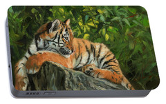 Portable Battery Charger featuring the painting Young Tiger Resting On Rock by David Stribbling