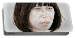 Portable Battery Charger featuring the mixed media Young Vietnamese Woman by Jim Fitzpatrick