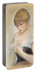 Young Woman Holding A Flower. Portrait Of Jeanne Samary Portable Battery Charger