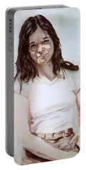 Young Woman Portable Battery Charger by Ron Bissett