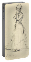 Young Woman With A Broom Portable Battery Charger