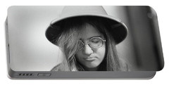 Young Woman With Long Hair, Wearing A Pith Helmet, 1972 Portable Battery Charger