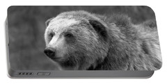Young Yellowstone Grizzly Black And White Portable Battery Charger