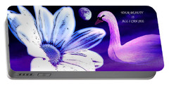 Your Beauty With Swan Moon And White Flower Portable Battery Charger