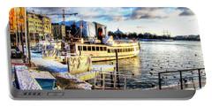 Portable Battery Charger featuring the pyrography Yury Bashkin Stockholm Swiss Winter by Yury Bashkin