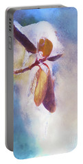 Winter Abstract - Snow And Ice On Rhododendron Leaves Portable Battery Charger