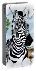 Portable Battery Charger featuring the painting Zany Zebra by Teresa Wing