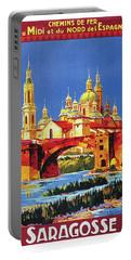 Zaragoza, Spain, Vintage Travel Poster Portable Battery Charger