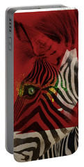 Portable Battery Charger featuring the digital art Zebra 4.0 by Nola Lee Kelsey
