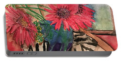 Zebra And Red Sunflowers  Portable Battery Charger
