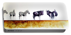 Zebra And Wildebeest Portable Battery Charger