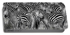 Zebra - Black And White Portable Battery Charger