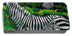 Zebra Family Portable Battery Charger by Shirley Heyn