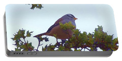 White Crowned Sparrow In Cedar Portable Battery Charger