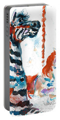 Zebra Gets A Ride The Ocean City Boardwalk Carousel Portable Battery Charger