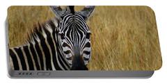 Zebra Half Shot Face On Portable Battery Charger