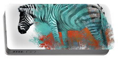 Zebra In Color Portable Battery Charger by Kathy Russell