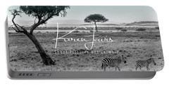 Zebra Mother And Child On The Mara Portable Battery Charger by Karen Lewis