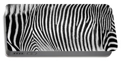 Zebra Print Black And White Horizontal Crop Portable Battery Charger