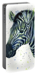 Zebra Watercolor Blue Green  Portable Battery Charger by Olga Shvartsur
