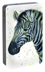 Zebra Watercolor Blue Green  Portable Battery Charger by Olga Shvartsur