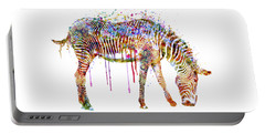 Zebra Watercolor Painting Portable Battery Charger by Marian Voicu
