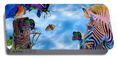 Zebras Birds And Butterflies Good Morning My Friends Portable Battery Charger
