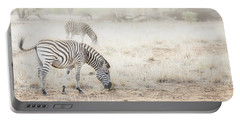 Zebras In Dreamy Scene - Horizontal Banner Portable Battery Charger