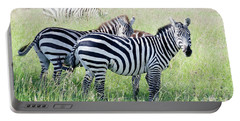 Portable Battery Charger featuring the photograph Zebras In Serengeti by Pravine Chester